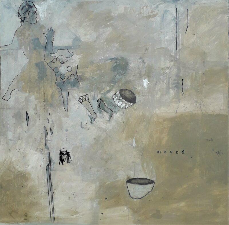 peinture acrylique contemporaine beige et personnages grand format de philippe croq