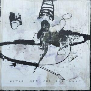 peinture acrylique noire et blanche sur bois et avec des personnages de philippe croq