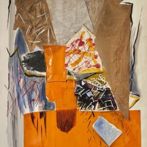 contemporary acrylic painting orange , collage on canvas large size by danielle pijikorski