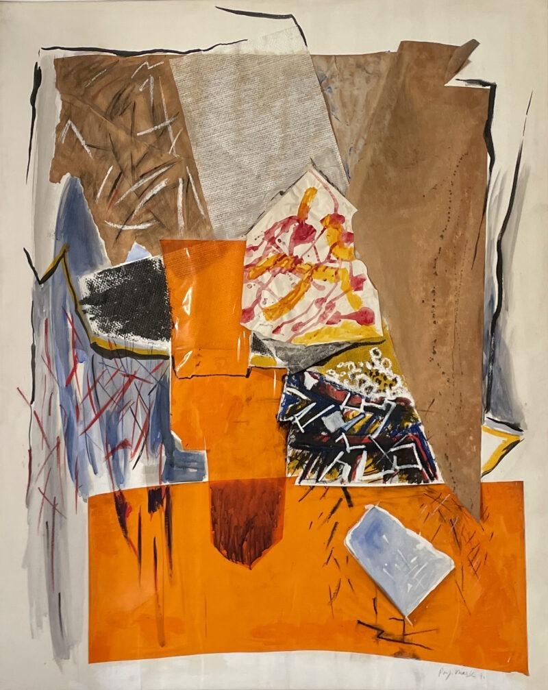 peinture contemporaine acrylique orange , collage sur toile grand format de danielle pijikorski