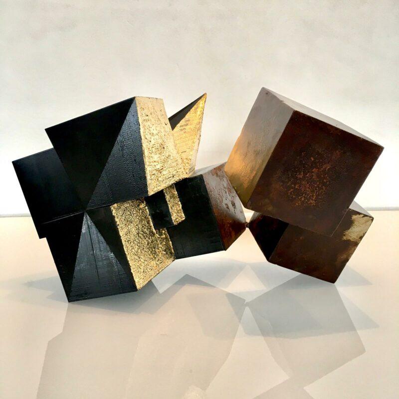 sculpture metal et feuille d'or contemporaine sebastien zanello