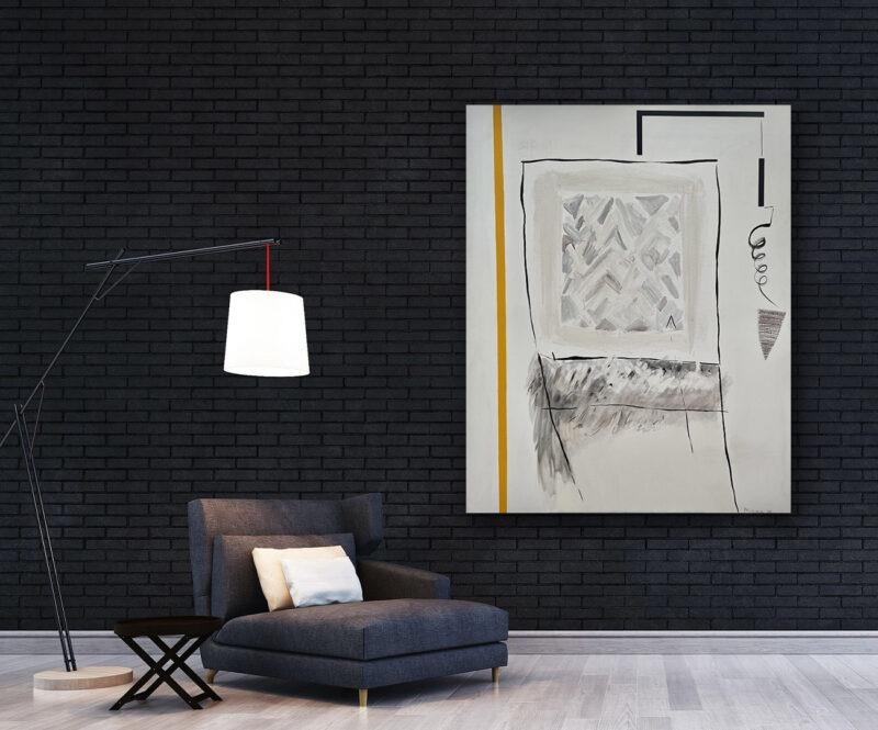 peinture abstraite blanche et noire acrylique sur toile de danielle prijikorski en grand format