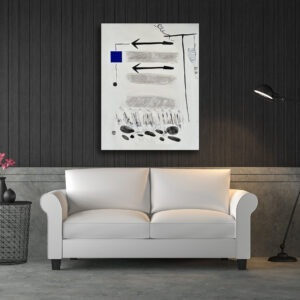 white and blue acrylic abstract painting on canvas by danielle prijikorski