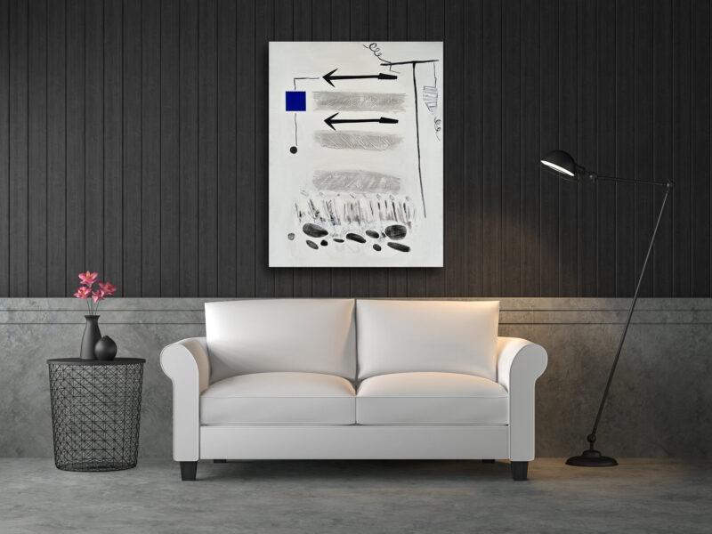 peinture abstraite blanche et bleue acrylique sur toile de Danielle Prijikorski